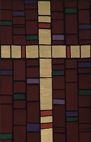 church banner depicting a cross made up of colored rectangles.